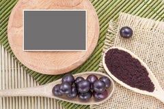Fruits and acai powder Royalty Free Stock Images