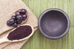 Fruits and acai powder Stock Photos