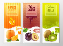 Fruits 3 Ad  Vertical banners set. Orange juice plum jam and kiwi jelly 3 vertical colorful advertisement banners set abstract  vector illustration Stock Image