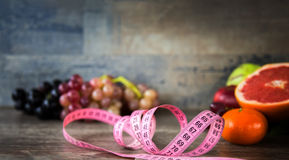 Fruits All Together and Measurement. Colorful and Lots of vitamins Stock Image