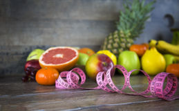 Fruits All Together and Measurement Stock Images