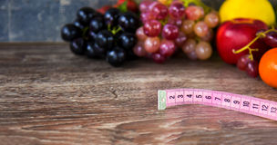Fruits All Together and Measurement Stock Image