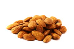 Fruits of almonds on white background. Royalty Free Stock Photography