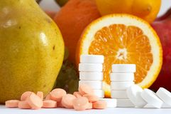 Fruits And Pills Stock Photography