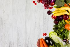 Fruits And Vegetable On White Wood Background Stock Images