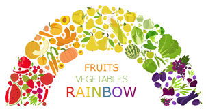 Fruits And Vegetables. Nutrition Rainbow. Icon Set Royalty Free Stock Photos