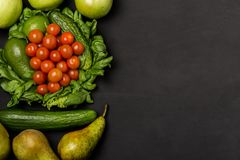Free Fruits And Vegetables On Rustic Wooden Backround With Space For Text. Healthy Eating, Dieting, Slimming And Weigh Loss Concept. Ve Stock Image - 104309411