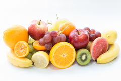 Fruits apple and grape. On white background Royalty Free Stock Image