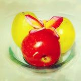 Fruits. Apple lemon flower and plate Stock Photo