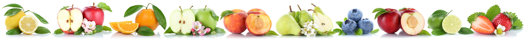 Fruits apple orange apples oranges in a row isolated on white Royalty Free Stock Photography