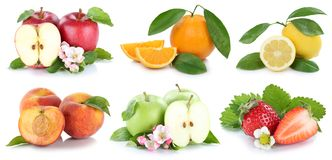 Fruits apple orange apples oranges strawberry fresh fruit collec. Tion  on a white background Stock Photo