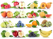 Fruits apple orange berries apples oranges banana strawberry col Stock Photos