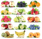 Fruits apple orange berries apples oranges banana strawberry col Royalty Free Stock Images