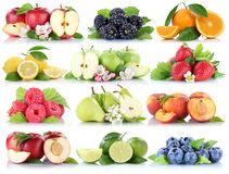 Fruits apple orange berries apples oranges strawberry collection Stock Photography