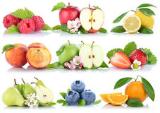 Fruits apple orange berries oranges strawberry collection isolat Stock Photos