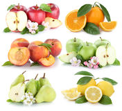 Fruits apple orange lemon peach apples oranges fresh fruit colle Stock Photos