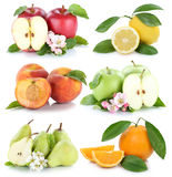 Fruits apple orange lemon peach apples oranges fresh fruit colle Stock Photo