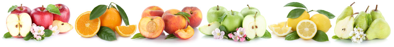 Fruits apple orange lemon peach apples oranges peaches fruit in Stock Images