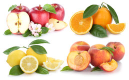 Fruits apple orange peach apples oranges collection Stock Photo