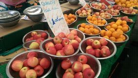 Fruits. Apples and oranges at UK local market stock photos