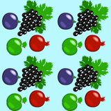 Fruits - apples, grapes, pomegranate, figs. Seamless pattern. Fruits - apples, grapes, pomegranate, figs Seamless pattern Light blue background Royalty Free Stock Images