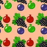 Fruits - apples, grapes, pomegranate, figs. Seamless pattern. Fruits - apples, grapes, pomegranate, figs Seamless pattern Peach background Stock Image