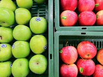 Fruits apples green red basket health fresh nature natural hungry mall shop market stock photos