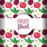 Fruit pixel background. Fruits apples and onions pixel background vector illustration graphic design Stock Illustration