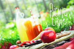 Fruits Apples Pear Fresh Juices Green Grass Text Stock Photos
