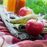 Fruits Apples Pear Juices Bottles on Picnic Plaid Royalty Free Stock Photography