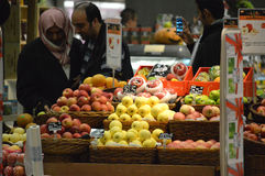 Fruits area  of supermarket. At Tianjin Joy City China photoed in october 2013 Stock Photography