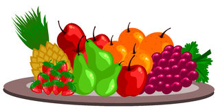 Fruits. Arrangement on a plate isolated vector royalty free illustration