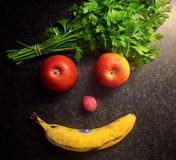 Fruits. The art with healthy fruits stock image
