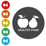 Fruits avec des icônes de feuille Apple et poire Nourriture saine illustration stock