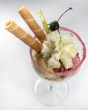 Fruits avec la crême glacée et les cornets Image libre de droits