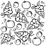 Fruits background. Stylized grape and peach silhouettes on a white background Royalty Free Stock Images