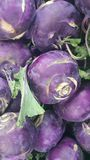 Fruits background: .Purple fresh kohlrabi turnip in supermarket for sale stock photos