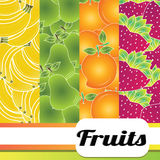 Fruits background. Special background with strawberry, mango, pear and bananas Stock Photos
