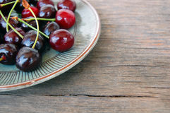 Fruits background with sweet cherries Stock Photos