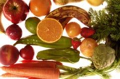 Fruits,backlit varied fruits, white background Royalty Free Stock Photography