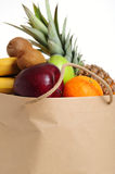 Fruits in bag royalty free stock images