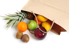 Fruits in bag stock photo