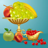 Fruits banana,cherry, apple and vase Royalty Free Stock Images