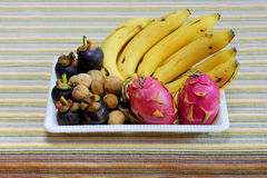 Fruits with banana,Mangosteen and Wollongong Stock Photography