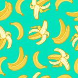 Fruits banana seamless patterns vector. Cartoon fresh fruits in flat style. banana seamless pattern. Fruits seamless patterns food summer design wallpaper vector Royalty Free Stock Images
