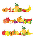 Fruits banner set.  and berries horizontal poster.  collection template for restaurant menu  Royalty Free Stock Photos