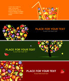 Fruits banners horizontal for your design vector illustration