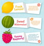 Fruits banners set. Colorful template for cooking Royalty Free Stock Image