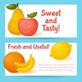 Fruits banners set. Colorful template for cooking Royalty Free Stock Photography