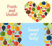 Fruits banners vector illustration. Stock Images